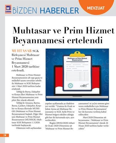 Page 14 of Muhtasar ve Prim Hizmet Beyannamesi Ertelendi