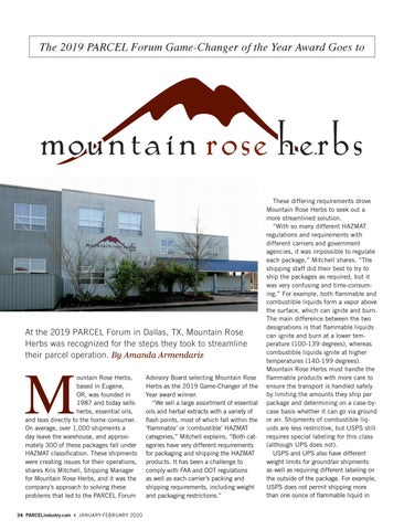Page 34 of THE 2019 PARCEL FORUM GAME-CHANGER OF THE YEAR AWARD GOES TO MOUNTAIN ROSE HERBS