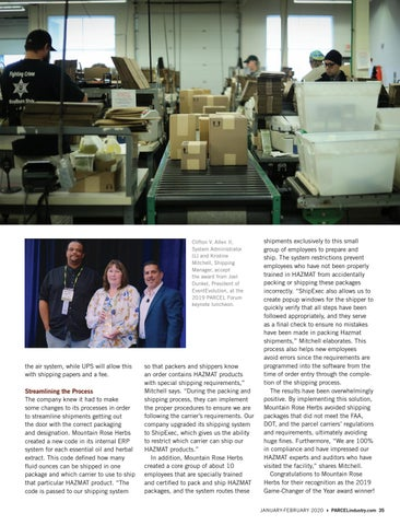 Page 35 of THE 2019 PARCEL FORUM GAME-CHANGER OF THE YEAR AWARD GOES TO MOUNTAIN ROSE HERBS