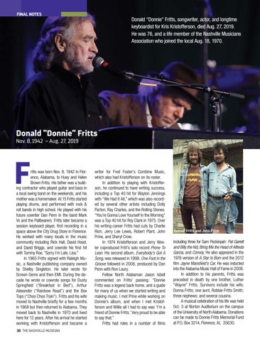 Page 30 of FINAL NOTES We bid farewell to Donald Fritts, Dillard