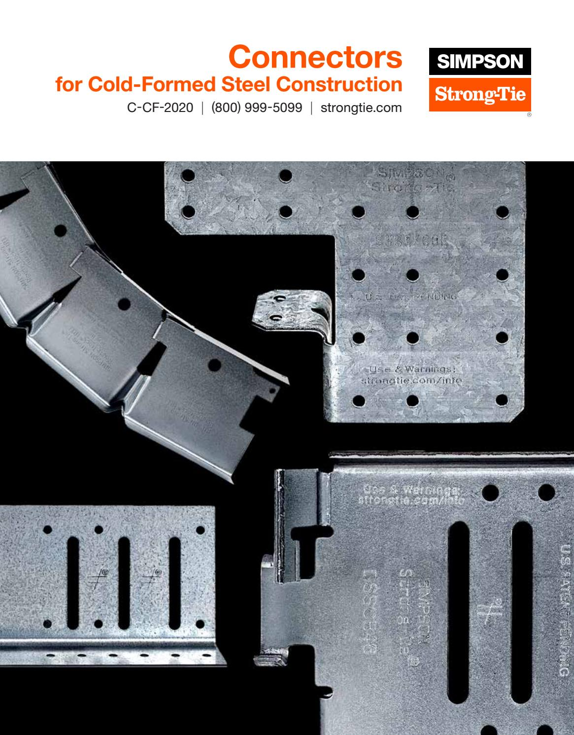 Simpson Strong Tie Connectors Guide For Cold Formed Steel Construction 2020 By Meek S Lumber Hardware Issuu