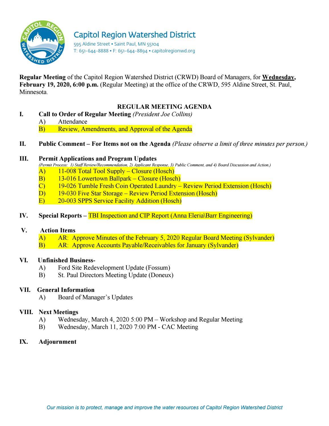 February 19 Board Meeting Packet by Capitol Region Watershed ...
