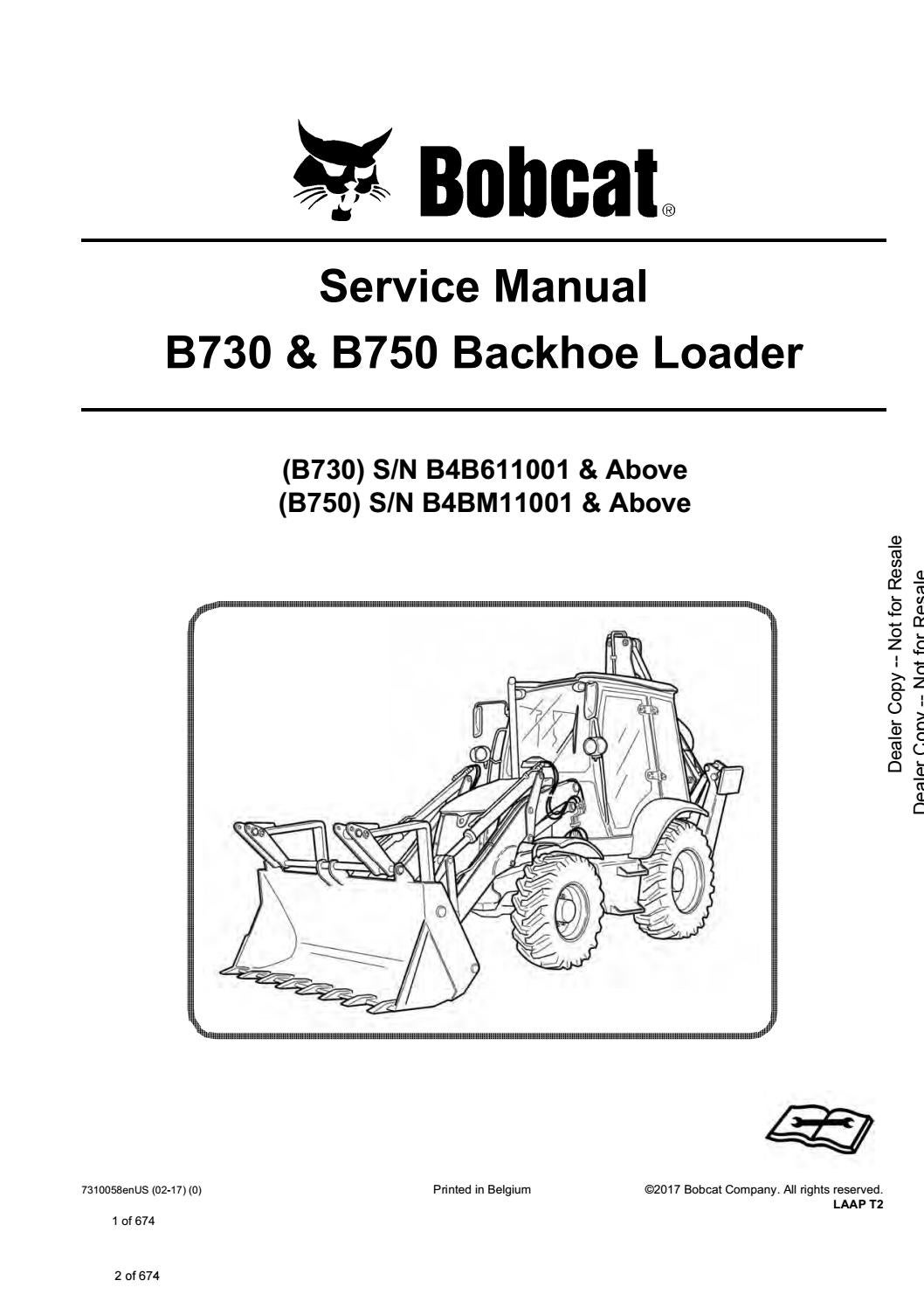 Bobcat B730 Backhoe Loader Service Repair Manual Sn B4b611001 And Above By Mixiong5796612 Issuu