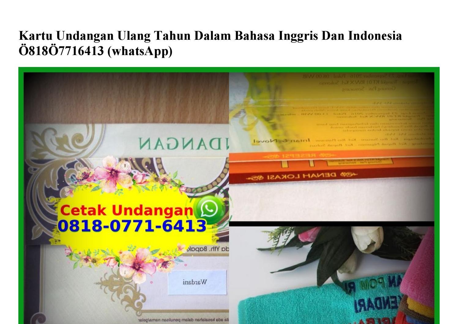 Kartu Undangan Ulang Tahun Dalam Bahasa Inggris Dan Indonesia 08i8 077i 64i3 Wa By Vendor Hargasupplier Issuu
