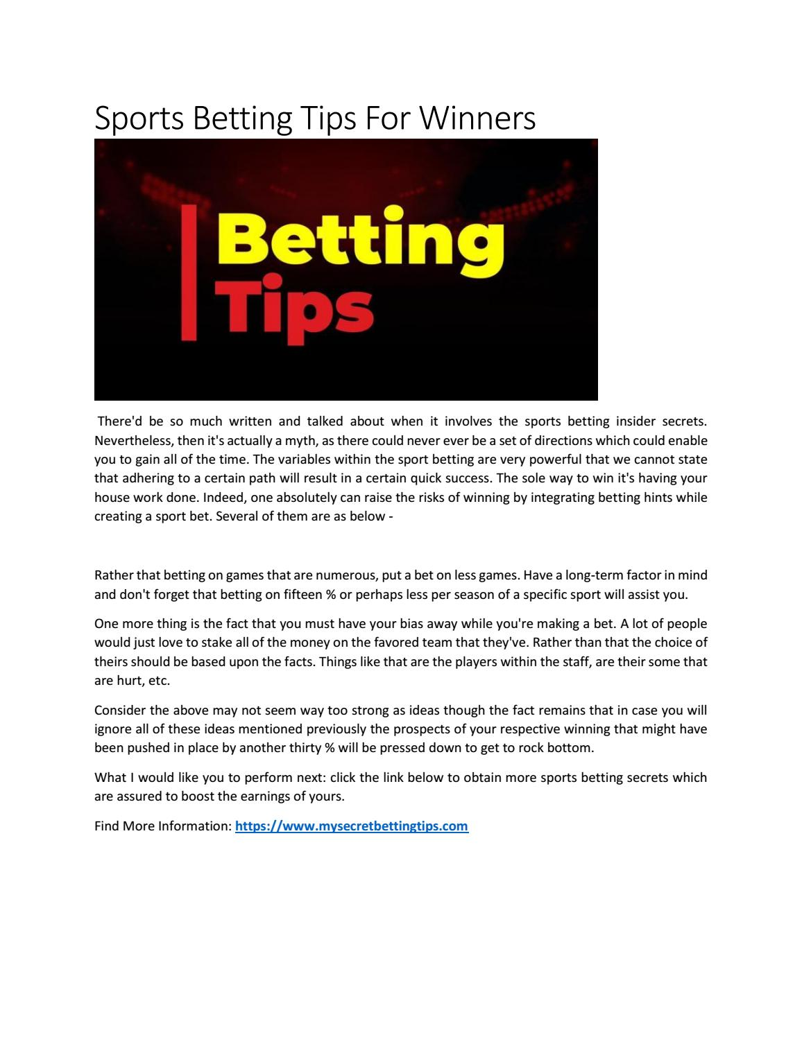 sports betting secrets