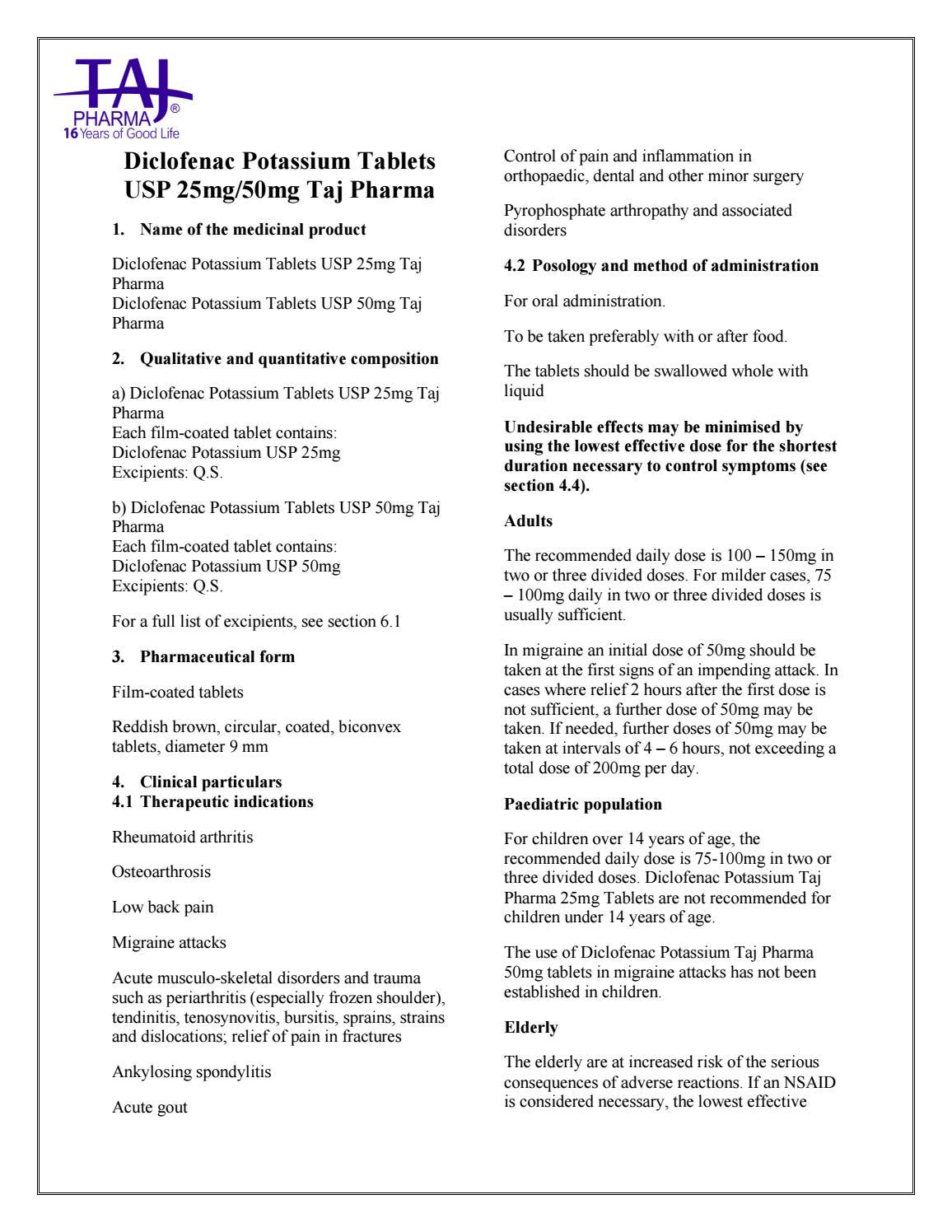 Diclofenac Potassium Tablets Usp Taj Pharma Smpc By Qc Taj Pharma Issuu