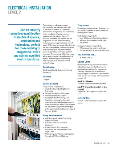 Page 41 of Electrical Installation Level 2
