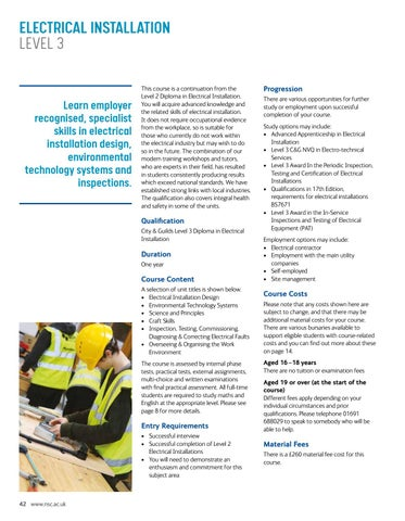 Page 42 of Electrical Installation Level 3