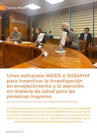 Page 4 of Unen esfuerzos INGER e ISSEMYM para incentivar la investigación en envejecimiento y la atención en materia de salud para las personas mayores