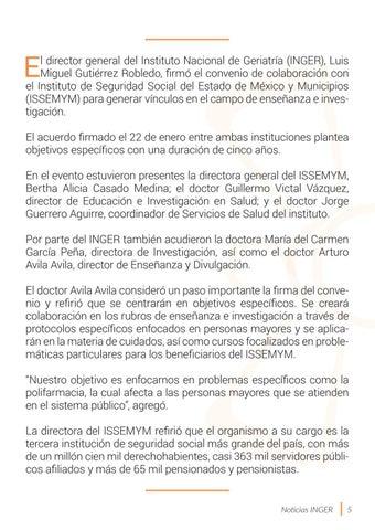 Page 5 of Unen esfuerzos INGER e ISSEMYM para incentivar la investigación en envejecimiento y la atención en materia de salud para las personas mayores