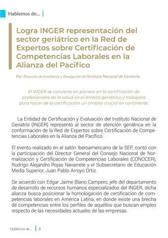 Page 8 of Logra INGER representación del sector geriátrico en la Red de Expertos sobre Certificación de Competencias Laborales en la Alianza del Pacífico