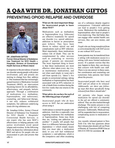 Page 20 of 18 Q&A WITH DR. JONATHAN GIFTOS Preventing Opioid Relapse and Overdose
