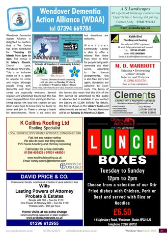 Page 21 of WENDOVER DEMENTIA ALLIANCE