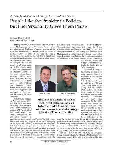 """Page 18 of A View from Macomb County, MI By David A. Dulio & John S. Klemanski """"People Like the President's Policies, but His Personality Gives Them Pause"""