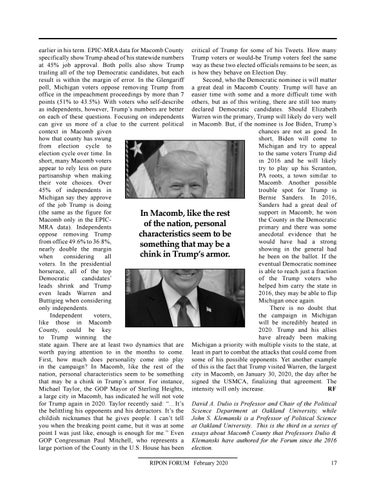 """Page 19 of A View from Macomb County, MI By David A. Dulio & John S. Klemanski """"People Like the President's Policies, but His Personality Gives Them Pause"""