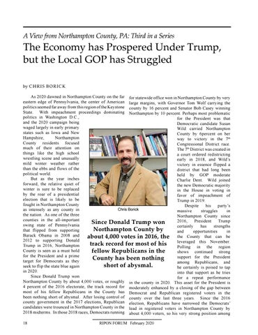 """Page 20 of A View from Northampton County, PA By Chris Borick """"The Economy has Prospered Under Trump, but the Local GOP has Struggled"""