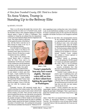 """Page 22 of A View from Trumbull County, OH By Adam L. Fuller """"To Area Voters, Trump is Standing Up to the Beltway Elite"""