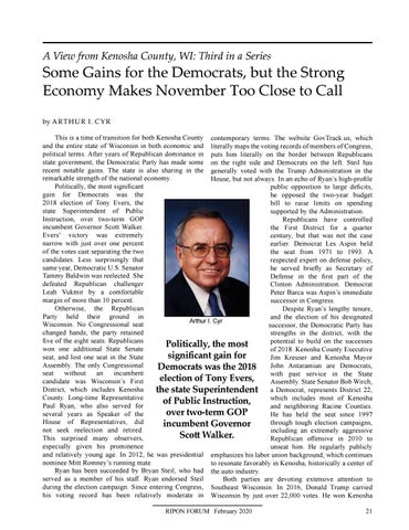 """Page 23 of A View from Kenosha County, WI By Arthur I. Cyr """"Some Gains for the Democrats, but the Strong Economy Makes November Too Close to Call"""