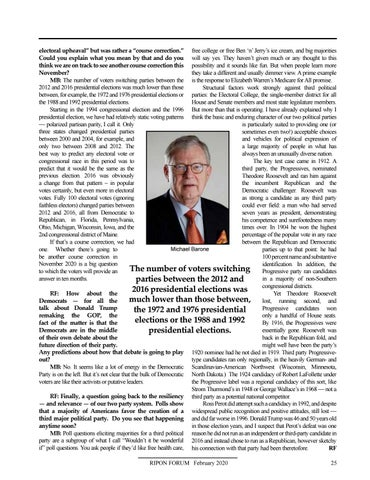 Page 27 of The Issues May Change and the Map May Evolve, but America's Two-Party System Endures A Q&A with Michael Barone The veteran political observer discusses his recent book about the Republican and Democratic Parties  and how their influence has risenand fallenover the years
