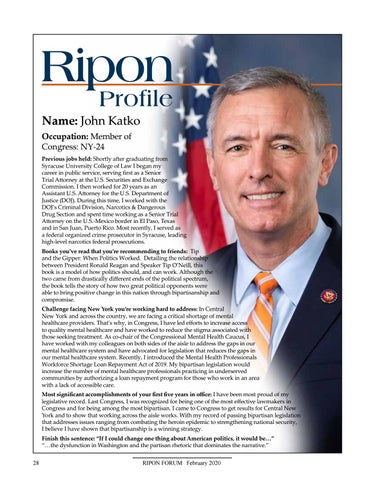 Page 30 of discussion with National Republican Congressional  Committee Chair Tom Emmer. Ripon Profile - U.S. Rep. John Katko