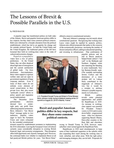 Page 8 of The Lessons of Brexit & Possible Parallels in the U.S. By Fred Bauer  Brexit and populistAmerican politics differ in key respects, but they share some common political contexts worth noting in this election year