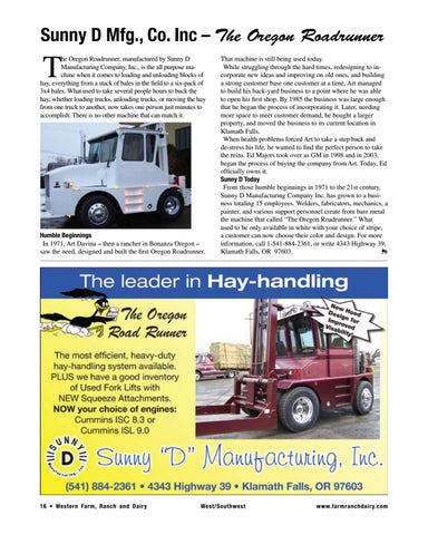 Page 16 of Sunny D Mfg., Co. Inc – The Oregon Roadrunner