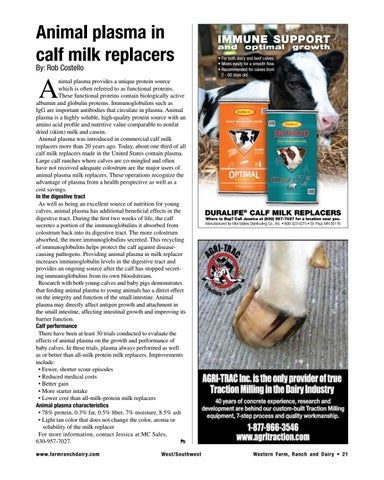 Page 21 of Animal plasma in calf milk replacers