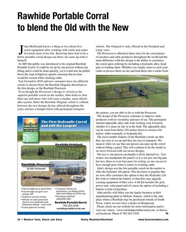 Page 34 of Rawhide Portable Corral to blend the Old with the New