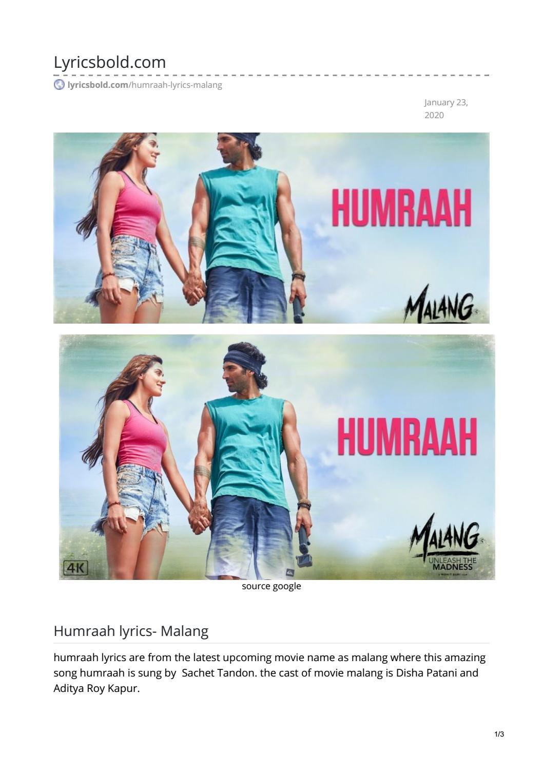 Humraah Lyrics By Swarajsirsat123 Issuu