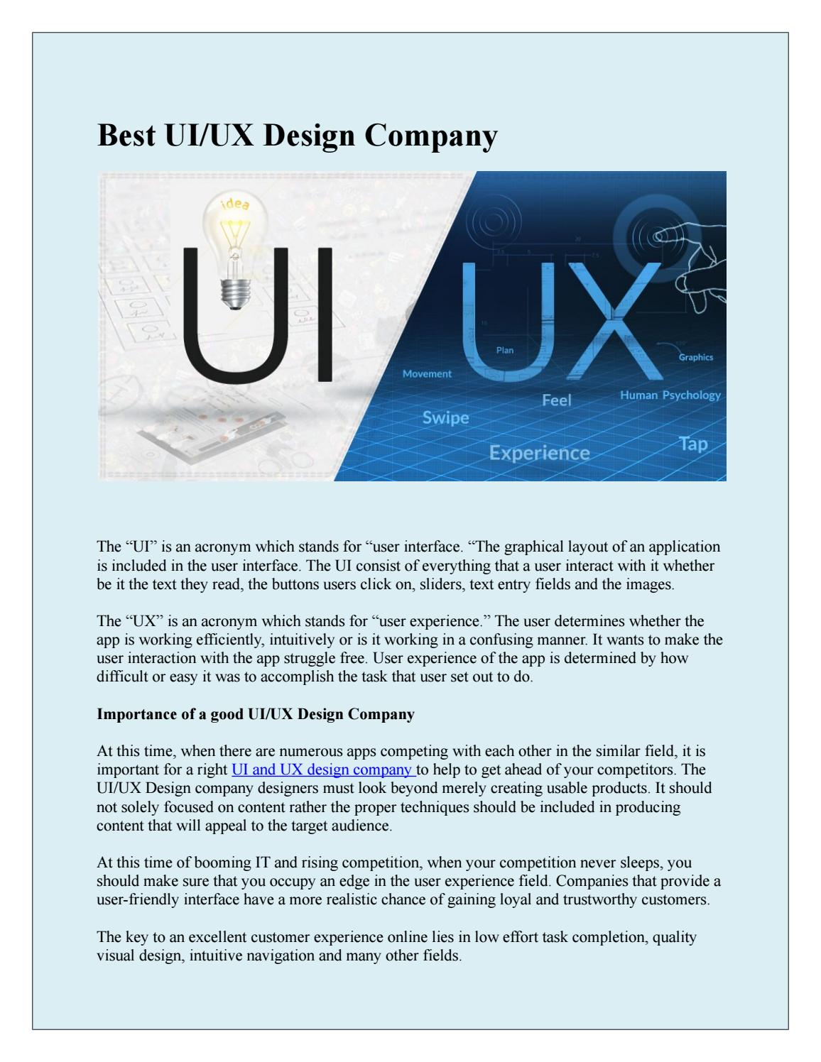 Best Ui Ux Design Company By Bhanvi Chaudary Issuu