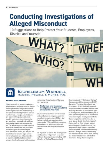 Page 8 of Conducting Investigations of Alleged Misconduct 10 Suggestions to Help Protect Your Students, Employees, District, and Yourself