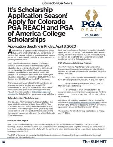 Page 10 of Colorado PGA News It's Scholarship Application Season! Apply for Colorado PGA REACH and PGA of America College Scholarships