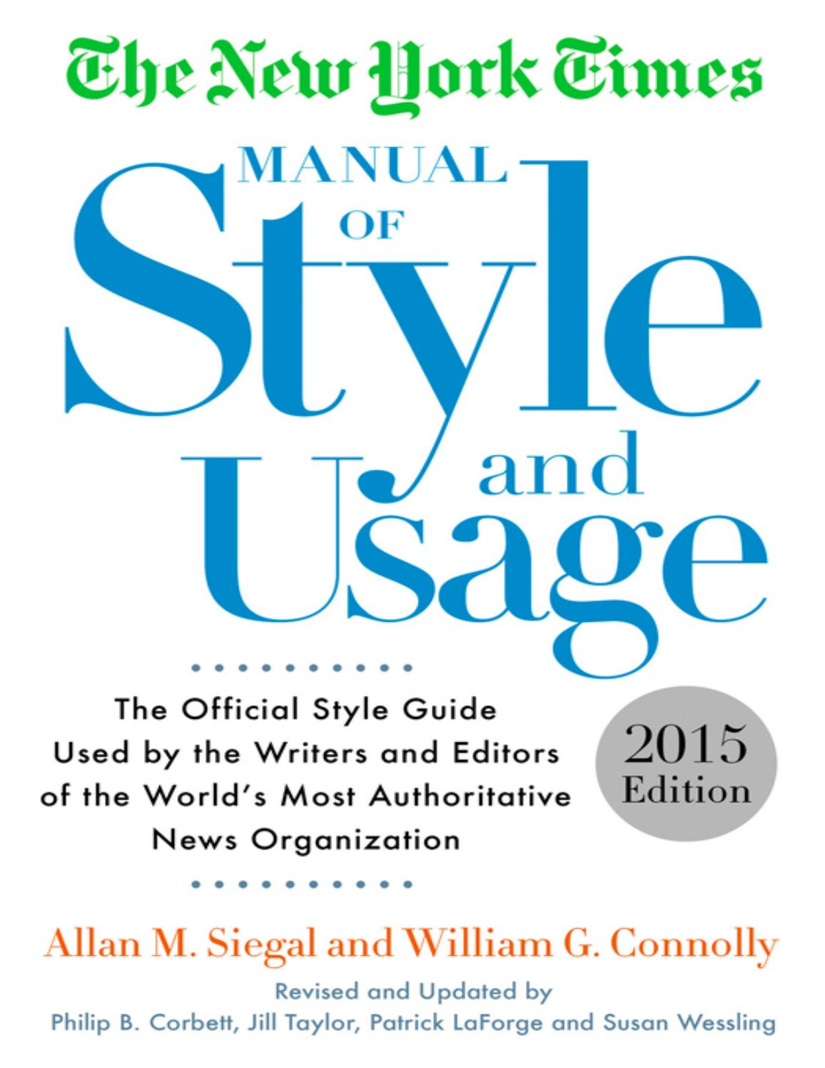 Nyt Manual Of Style And Usage 15th Edition By Prof Barbosa Issuu
