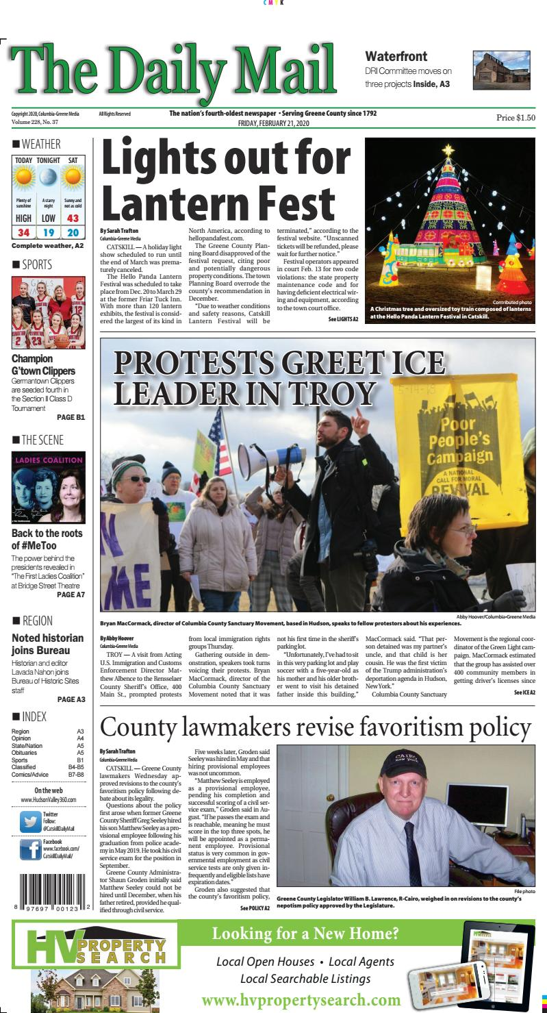 Lantern Festival Palmer Lake For Christmas 2020 eedition The Daily Mail February 21 2020 by Columbia Greene Media