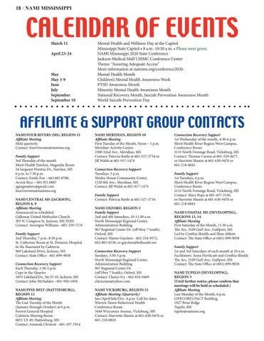 Page 18 of CALENDAR OF EVENTS, AFFILIATE & SUPPORT GROUP CONTACTS