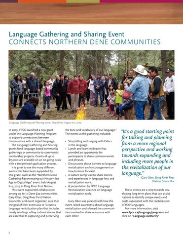 Page 2 of Language Gathering and Sharing Event: Connects Northern Dene Communities