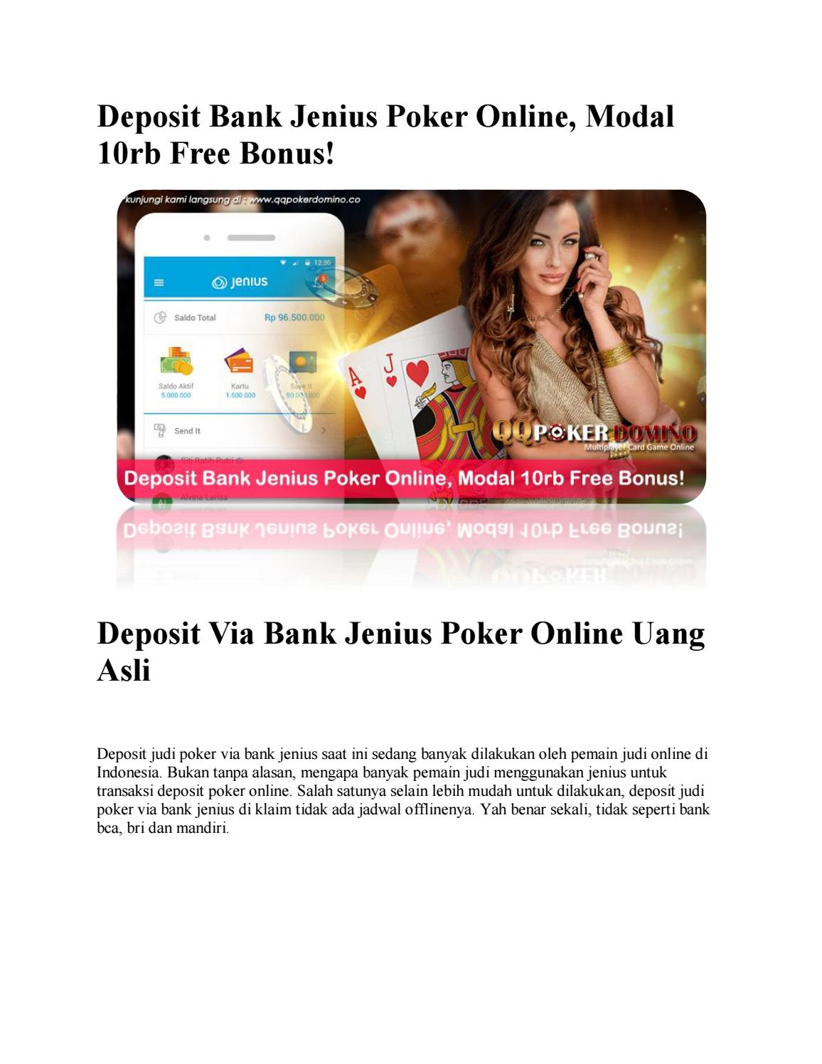 Deposit Bank Jenius Poker Online Modal 10rb Free Bonus By Anan Issuu