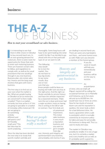 Page 22 of The A-Z of Business: Starting a Second-Hand Car Sales Business