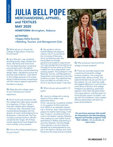 Page 17 of STUDENT SPOTLIGHT - Julia Bell Pope