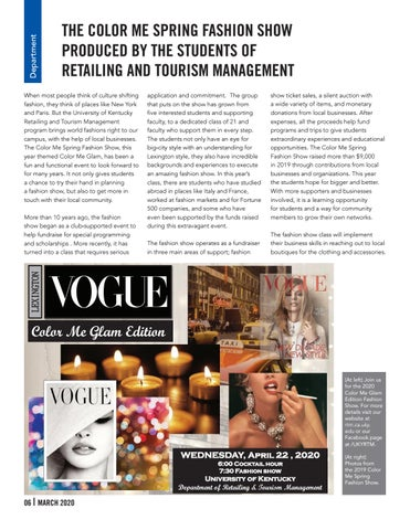 Page 6 of DEPARTMENT SPOTLIGHT - Retailing and Tourism Management