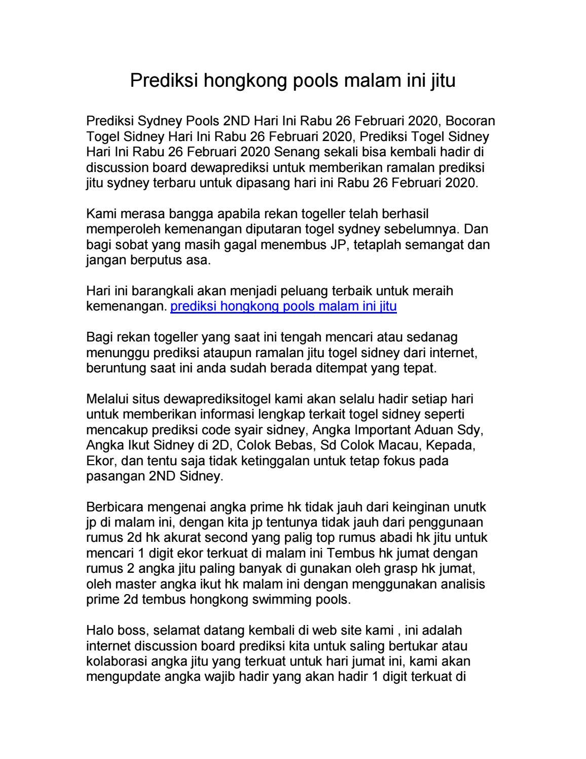 Prediksi Hongkong Rabu 03-02-2021 - Prediksi Hk
