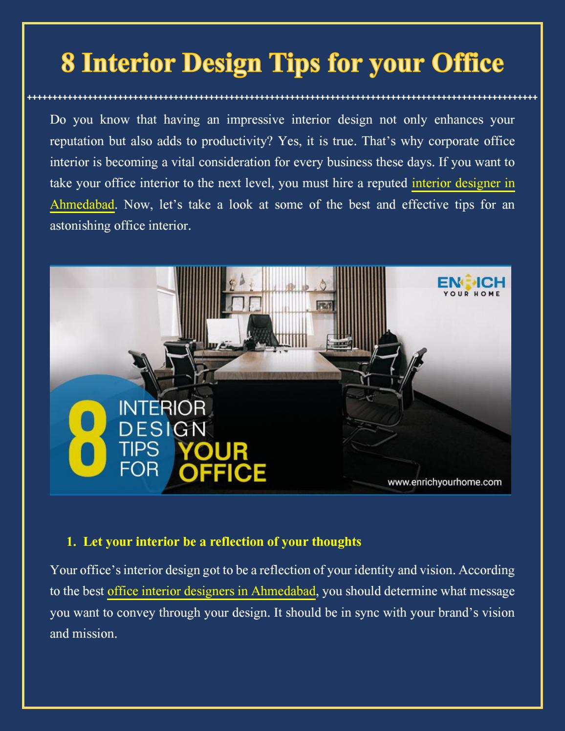 8 Interior Design Tips For Your Office By Enrichyourhome Issuu