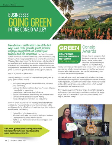 Page 20 of BUSINESSES GOING GREEN IN THE CONEJO VALLEY