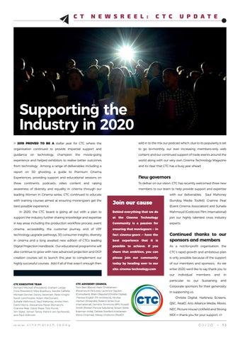 Page 13 of Cinema Tech Community's regular quarterly update