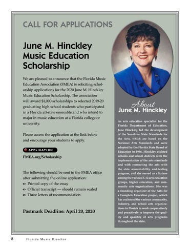 Page 8 of June M. Hinckley Music Scholarship Call for Applications