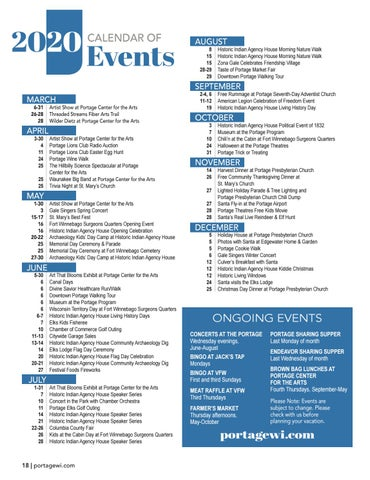 Page 18 of Calendar of Events