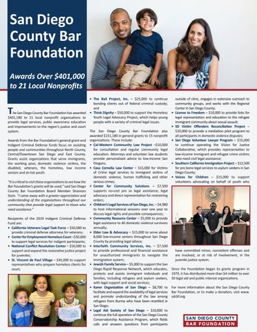 Page 35 of SAN DIEGO COUNTY BAR FOUNDATION AWARDS $401K TO LOCAL NONPROFITS