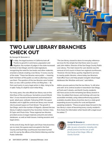 Page 38 of TWO LAW LIBRARY BRANCHES CHECK OUT by George W. Brewster Jr