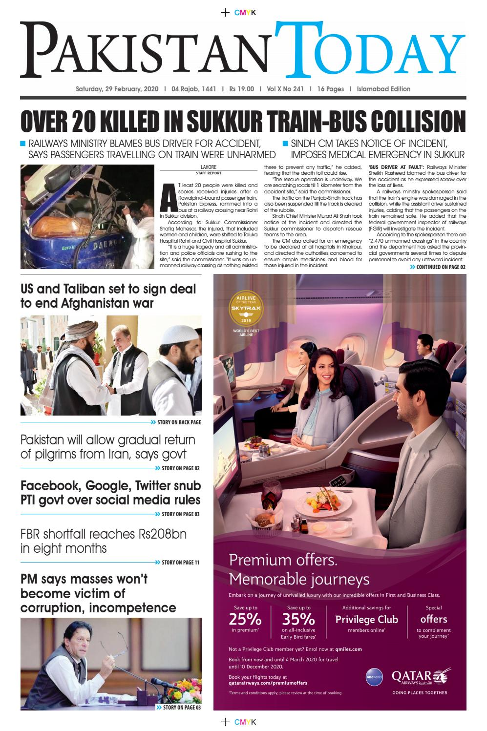 E PAPER PDF 29 FEBUARY 2020 ISB By Pakistan Today Issuu