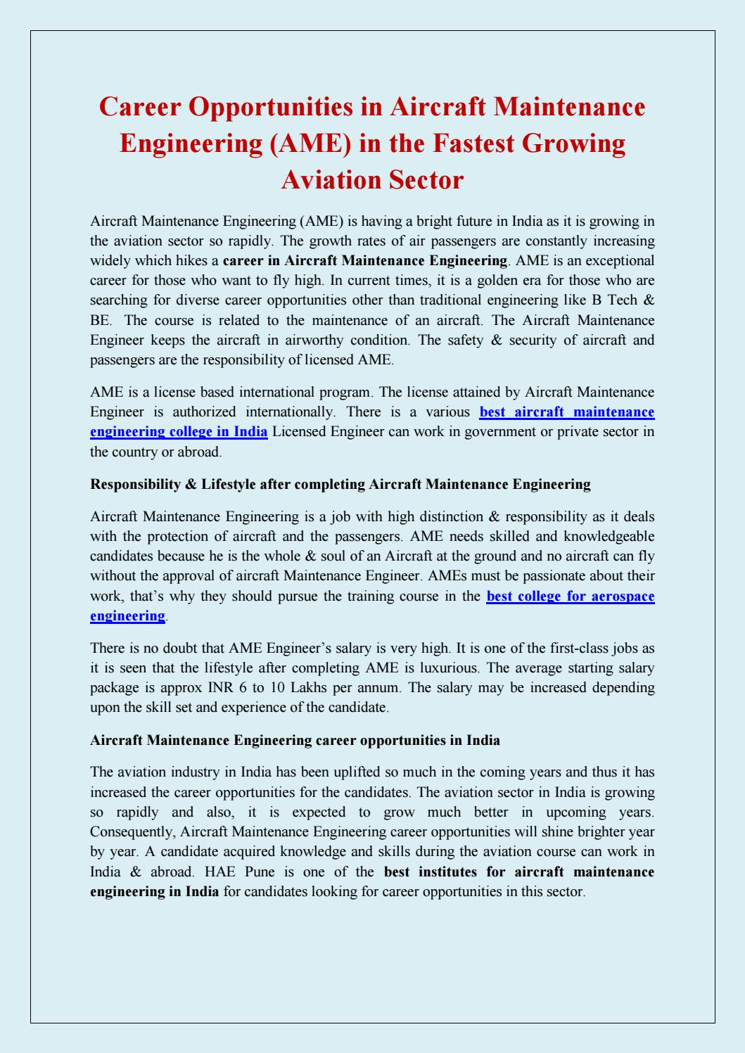 Career Opportunities In Aircraft Maintenance Engineering In The Fastest Growing Aviation Sector By Haepune Issuu